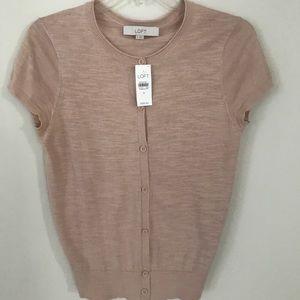 LOFT NWT blush short sleeve cardigan. Size S